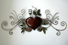 Metal Wall Art Decor Picture - Heart Scroll Design Boxed