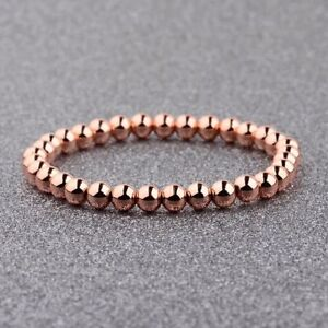 Couples Men Woman 6mm Rose Gold Plated Copper Beads Stretch Bracelets Jewelry