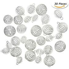 30Pcs Silver Plated Spiral Bead Cages Pendants for Jewelry Craft Making YUUS