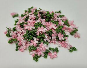 Lot De 144 Pièces Vintage Petit Rose Fleur Floral Brodé Artisanat Appliques