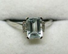 Lovely 18 carat White Gold Aquamarine And Diamond Ring Size N