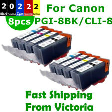 8X PGI 5BK CLI 8 Ink Cartridges For Canon IP3300 IX4000 5000 MP510 520 MX700