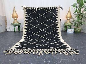"""Moroccan Handmade Kilim Zanafi Rug 4'1""""x6'6"""" Berber Geometric White Black Rug"""