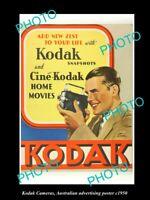 OLD 8x6 HISTORIC PHOTO OF KODAK FILM & CAMERA ADVERTISING POSTER c1950 1
