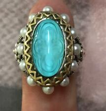 BARBARA BIXBY TURQUOISE DOUBLET CABOCHON  PEARL 18K GOLD  RING SIZE 5 STERLING