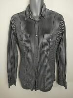 MENS TED BAKER BLACK WHITE SMART FITTED BUTTON UP SHIRT TSHIRT SIZE MEDIUM M