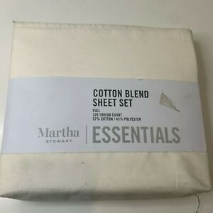 Martha Stewart Cotton Blend Sheet Set cream full 220 thread count blend