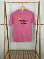 VTG 80s Niagara Fall Sunset Seagulls Pink Single Stitch Thin 50/50 T-Shirt Sz L