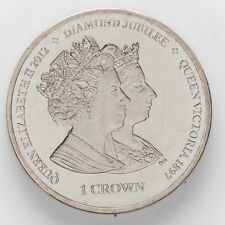 Isle of Man Queen Elizabeth II and Queen Victoria Crown Coin (AG69)