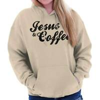 Jesus Christ Coffee Funny Religious Morning Womens Hooded Pullover Sweatshirt