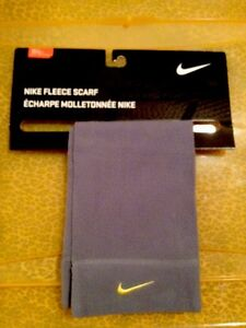 New Retail $15 Youth Size NIKE Gray Yellow Volt Swoosh Logo Fleece Scarf Unisex