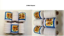 12 x HEAVY DUTY 500M White SPOOLS 100% POLYESTER QUILT SEWING THREAD