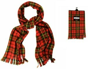 MENS WOMENS TARTAN CHECK FLEECE SCARF SUPER SOFT SCARVES NECK WARMER WITH TASSLE