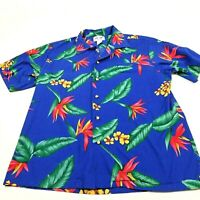 PW Hawaii Mens XL Hawaiian Vtg Made in USA Aloha Floral Island Blue Shirt(L1597)