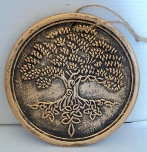 ROUND ANTIQUE GOLD TREE OF LIFE PLAQUE