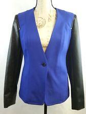 Vince Camuto Career Jacket Cobalt Blue Faux Leather Black Sleeve Zipper size 6