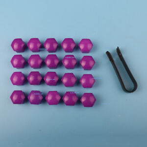 PURPLE 20pcs Auto Wheel Lug Nut Caps 17mm + Removal Tool Fit Car - VW AUDI etc.