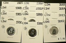 1987 to 2006 P Canada 10 Cents Lot of 12 Uncirculated #5812