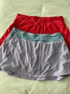 LULULEMON PACE RIVAL Pleated/Tennis Skirt/Skort/Shorts 8 Set of 2