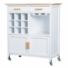 Rolling Kitchen Trolley Cart Storage Display Cabinet Portable Serving Utility