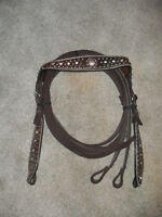 NEW BROWN BLING H/S LEATHER WESTERN BRIDLE / HEADSTALL W/ CRYSTALS, DOTS & REINS