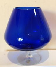 RETRO BLUE COBALT GLASS FOOTED VASE SWEDEN