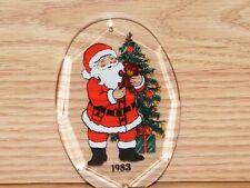 Vintage Style 1983 Clear Santa Claus Holiday Christmas Tree Ornament **READ**