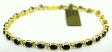 GENUINE 11.09 Cts BLUE SAPPHIRE & DIAMOND TENNIS BRACELET 14K GOLD *MADE IN USA
