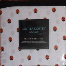 CYNTHIA ROWLEY QUEEN SHEET SET LADYBUG PRINT SHEETS 4 PIECE MICROFIBER NEW