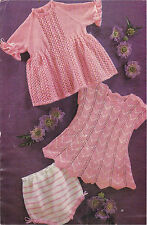 Knitting Pattern-Vintage baby girl dressesto knit  in 4 ply- fits chest 18-21