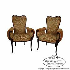 Vintage 1940s Pair of Carved Tufted Rolled Arm Fire Side Chairs