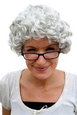 Perruque Gris Boucles Grand-Mère Mamie Mère-Grand Vieux Maturité Dame Femme Grand-mère wig pw0035