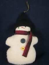 WOOF & POOF Ornament Snowman Green & Yellow Buttons Black Hat Plaid Muffler ~EXC