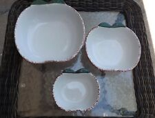 Ceramic Apple Shaped Nesting Mixing or Serving Bowls