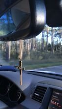 Car Rear view Mirror Charm Hanging Square Nail Metal Cross Ornament Dangler