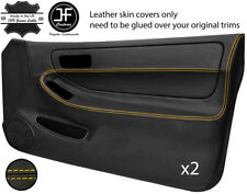 YELLOW STITCH 2X FULL DOOR CARD LEATHER COVER FOR HONDA INTEGRA TYPE R DC2 93-01