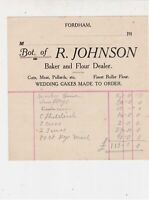 Bot. of R. Johnson 1910s Baker & Flour Dealer Fordham Itemised Receipt Ref 33945