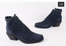 Jeffrey Campbell Surat Navy Blue Woven Ankle Boots Size 8.5/9