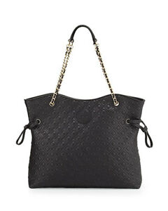 NWT Tory Burch Quilted Chain Marion Slouchy Tote Handbag BLACK $650