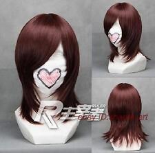 Haute qualité !brun fonce Moyen raide santé cosplay Costume cheveux perruques