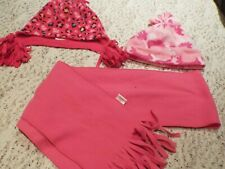 Lot of 3 Girls pink hat scarf winter size S/ M free ship