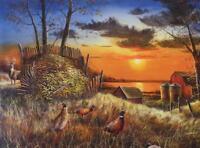 "Jim Hansel ""Sharing the Bounty "" Deer Buck Pheasant Print  16"" x 12"""