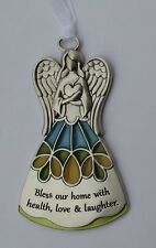 cc Bless home love health laughter Guardian Angel stained glass look ORNAMENT