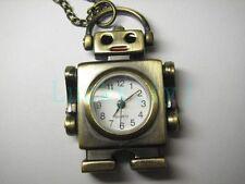 Bronze Robot Pendant Pocket Quartz Watch Kid Child