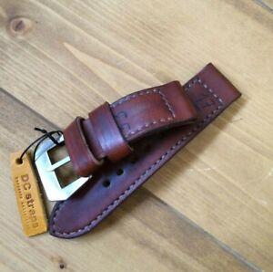 "Handmade 26mm brown ""historica"" leather strap GPF buckle fits Panerai watch"