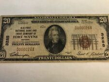 *LOW SERIAL #26 1929 $20 NB FORT WAYNE, INDIANA IN CH. 3285 TYPE 1