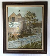 "H.Hargrove  Morton Salt Country Barn Farm Framed Canvas Serigraph 30""x26"""