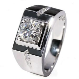 1.44 TCW Round Cut Moissanite Mens Engagement Ring In 14k White Gold Plated