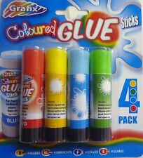 Grafix Non Toxic Pack of 4 Multi Coloured Glue Sticks (Red, Yellow, Blue, Green)