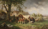Dream-art oil painting cows with Calves sheep goat in landscape under the trees